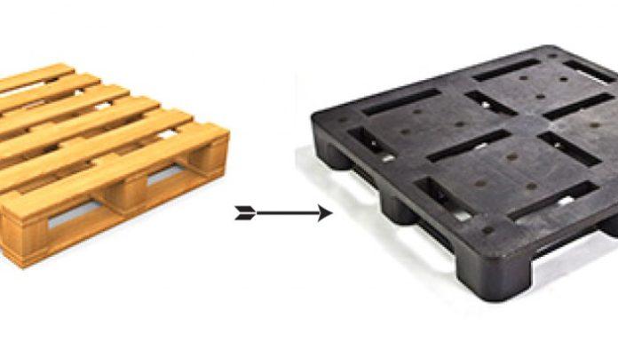 palés de plástico y de madera